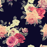 Seamless floral pattern with roses, watercolor. - 180965580