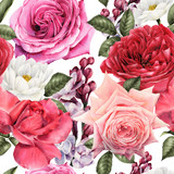 Seamless floral pattern with roses, watercolor. - 180965758