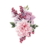 Bouquet of roses, watercolor, can be used as greeting card, invitation card for wedding, birthday and other holiday and  summer background. - 180966590