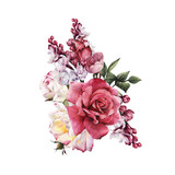 Bouquet of roses, watercolor, can be used as greeting card, invitation card for wedding, birthday and other holiday and  summer background. - 180966738