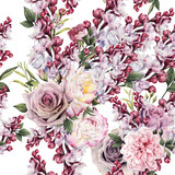Seamless floral pattern with roses and Lilac, watercolor. - 180966943