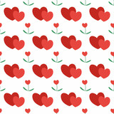 Seamless pattern of large red hearts. Background for design of packing wedding, invitation for Valentine's day, posters.