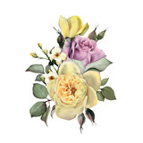 Bouquet of roses, watercolor, can be used as greeting card, invitation card for wedding, birthday and other holiday and  summer background. - 180967536