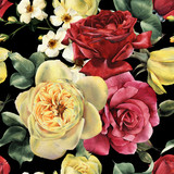 Seamless floral pattern with roses, watercolor. - 180969974