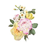 Bouquet of flowers, watercolor, can be used as greeting card, invitation card for wedding, birthday and other holiday and  summer background. - 180971709