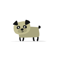 Funny pug dog, sketch for your design