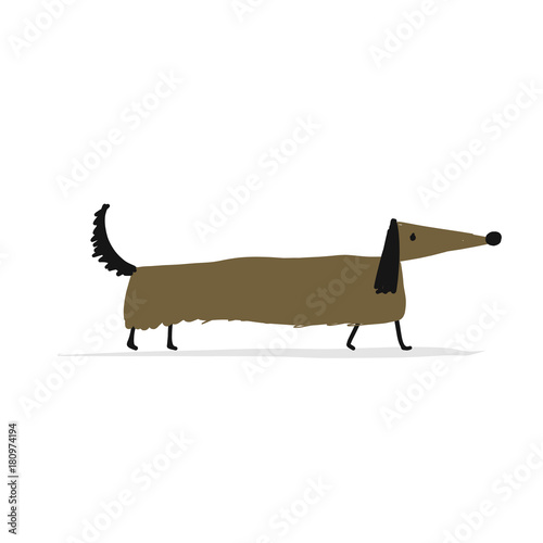 Cute dachshund dog, sketch for your design