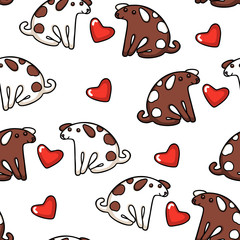 Cute vector dogs and hearts seamless pattern, good for fabric or wrapping paper