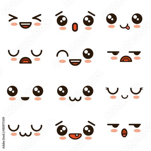 cute faces kawaii emoji cartoon - 180977309