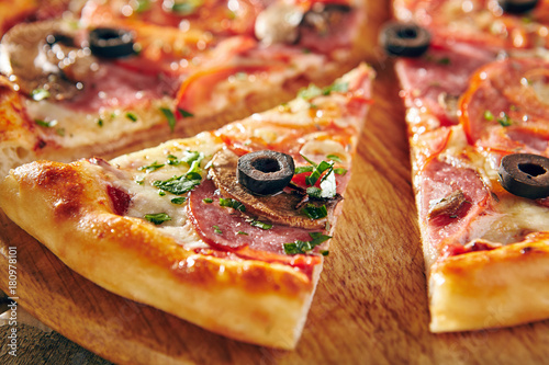 Pizza Restaurant Menu - Delicious Fresh Pizza with Sausages, Tomatoes and Mushrooms Poster