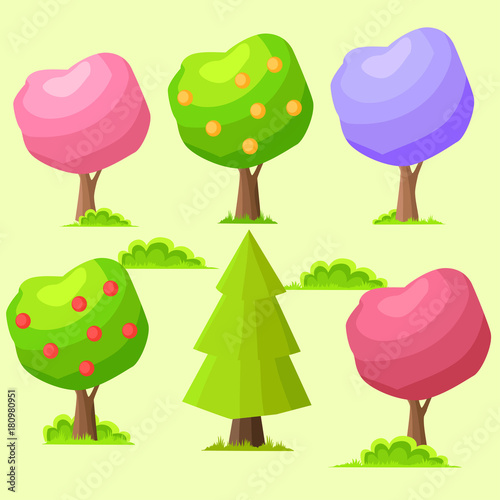 Low Poly Colorful Trees Flat Vector Set - 180980951
