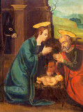 AVILA, SPAIN, APRIL - 18, 2016: The painting of Nativity on the side altar of Catedral de Cristo Salvador by unknown artist of 16. cent. - 180981102