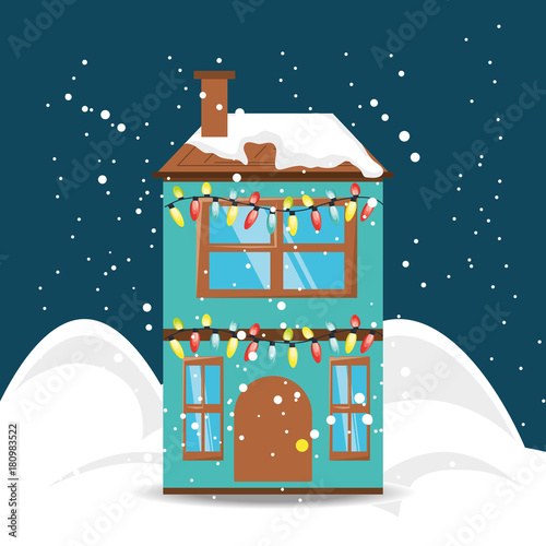 house with christmas lights icon over blue background colorful design vector illustration