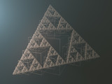abstract geometric triangle fractal shape 3d rendering