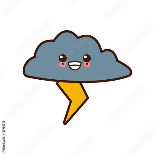 Rainy weather symbol cute kawaii cartoon