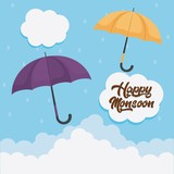 happy monsoon colorful design with yellow and purple umbrellas icon over blue background vector illustration - 180988394
