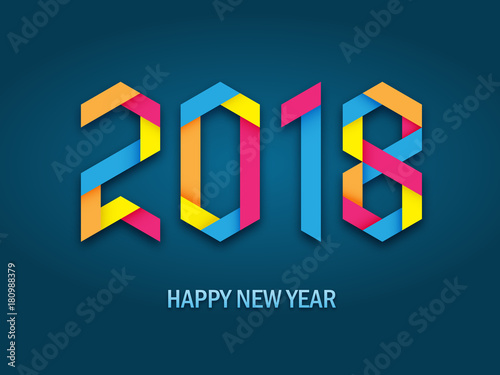 happy new year 2018 isometric card
