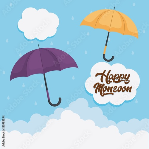 happy monsoon colorful design with yellow and purple umbrellas icon over blue background vector illustration