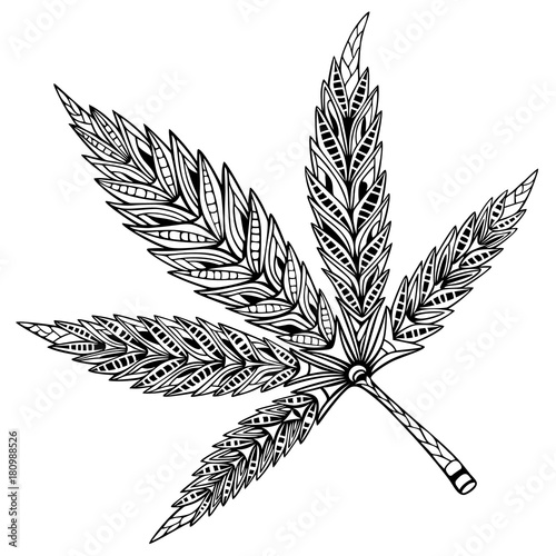 Cannabis Leaf Doodle And Zentangle Style Hand Drawn Coloring Book
