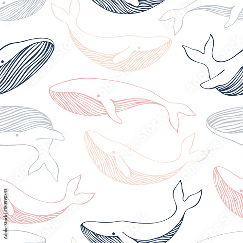Seamless pattern with whales. Can be used for wallpaper, web page background, surface textures. - 180990543