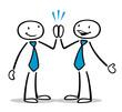 Zwei Cartoon Geschäftsleute geben High Five