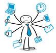 Business Mann hat Stress und Überforderung