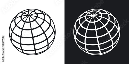 Fototapeta Vector global communications icon. Two-tone version on black and white background