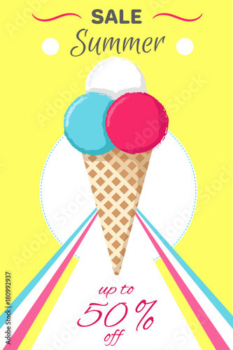 Hot Summer Poster with Ice Cream Vector Banner - 180992937