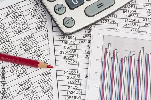 Leinwanddruck Bild calculator and statistics