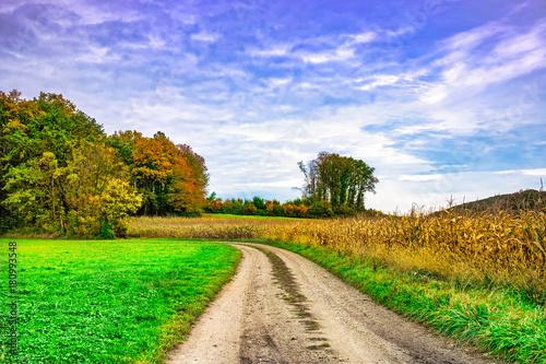 Papiers peints Bleu ciel Farbenfrohe Landschaft Im Herbst