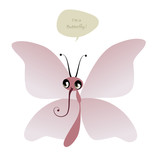 Cute Butterfly and speech balloon isolated on white background