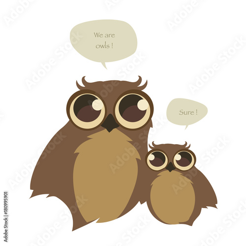 Aluminium Uilen cartoon Cute two owls and speech balloons on white background