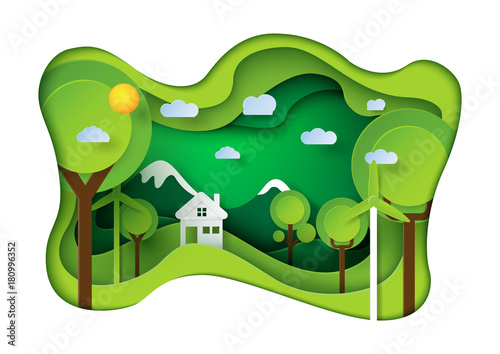 Green eco friendly living house paper carve background.Nature landscape and environment conservation concept design.Vector illustration.