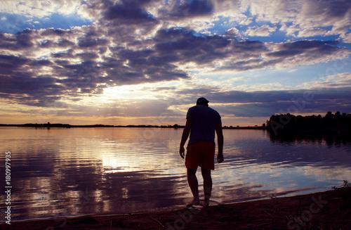 Foto op Canvas Zee zonsondergang evening by the water