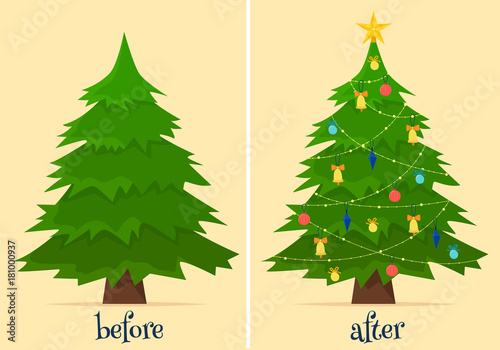 Staande foto Groene Christmas tree before and after decoration. Fir in forest and in room with gifts and lights.