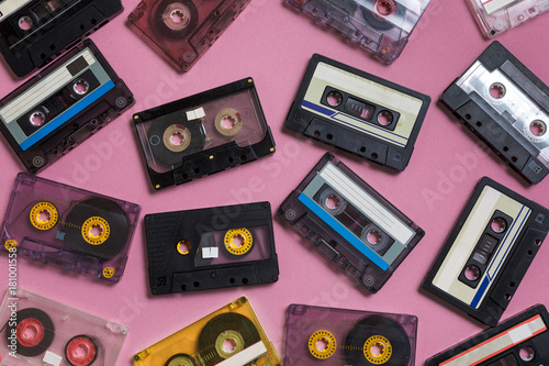 Poster Collection Of Retro Audio Tapes On Lilac Background