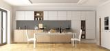 Modern wooden and white kitchen - 181002707