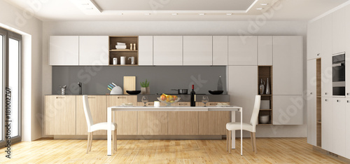Modern wooden and white kitchen - 181002707