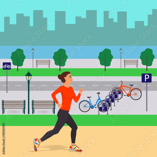 Foto op Canvas Turkoois Girl runing on the background of beautiful city scenery. Jogging woman in the city. Street, trees, silhouettes of buildings, benches, lanterns, bicycle parking, river or lake. Vector illustration.