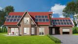 Einfamilienhaus mit Solaranlage auf dem Dach - 181004308