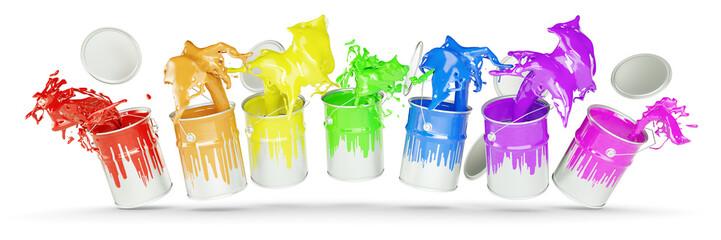 Bunte Farben in Farbeimern als Regenbogen