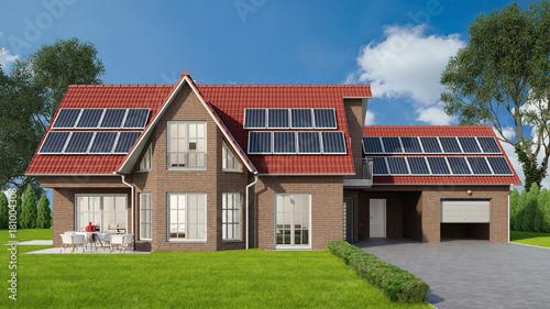 Obraz na płótnie Einfamilienhaus mit Solaranlage auf dem Dach
