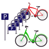 Bicycle Parking with two bicycles, simple flat illustration. Vector.