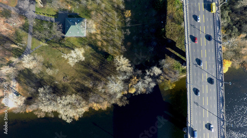 mata magnetyczna aerial view of Paton bridge in Kiev, Ukraine