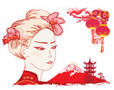 Geisha and Chinese lanterns