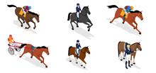 Isometric Set Jockey On Horse Sticker