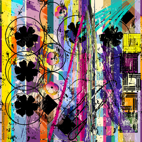Plexiglas Abstract met Penseelstreken abstract geometric background pattern, with strokes, splashes, flowers and circles