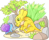 cute styracosaurus looking at snail  - 181022531