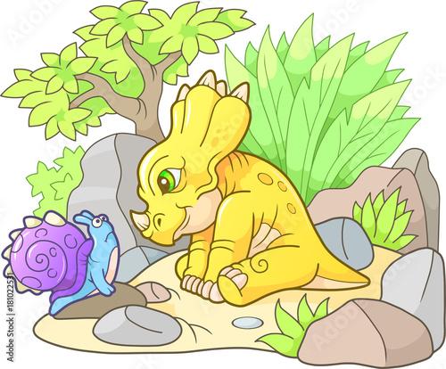 cute styracosaurus looking at snail