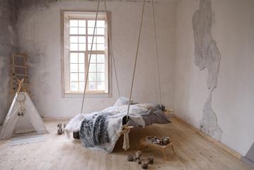 Interior of a bedroom in Scandinavian style